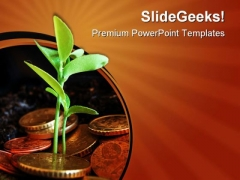 Money Plant Finance PowerPoint Themes And PowerPoint Slides 0811