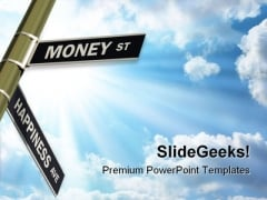 Money St Happiness Ave Road Sign Symbol PowerPoint Templates And PowerPoint Backgrounds 0811
