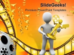 Movie Award Winner Success PowerPoint Templates And PowerPoint Backgrounds 0211