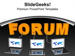 Multiple Laptop Wired To Forum Business PowerPoint Templates Ppt Backgrounds For Slides 0213