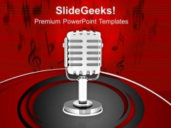 Music Broadcasting Microphone PowerPoint Templates Ppt Backgrounds For Slides 0313