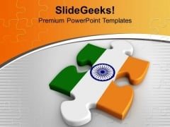 National Flag On Puzzle Piece Indian PowerPoint Templates Ppt Backgrounds For Slides 0213