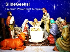 Nativity Birth Christ Religion PowerPoint Template 0610