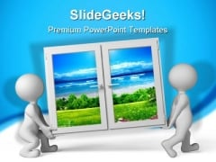Nature Window People PowerPoint Templates And PowerPoint Backgrounds 0311