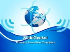 Network Planet With Blue Waves Global PowerPoint Templates And PowerPoint Backgrounds 0711