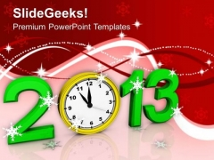 New Year 2013 With Clock Event PowerPoint Templates Ppt Backgrounds For Slides 1112