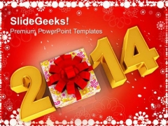 New Year 2014 With Gift Favors PowerPoint Template 1113
