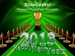 New Year Concept On Winner Carpet PowerPoint Templates Ppt Backgrounds For Slides 1212