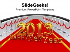 New Year Party 2013 On Red Carpet PowerPoint Templates Ppt Backgrounds For Slides 0113