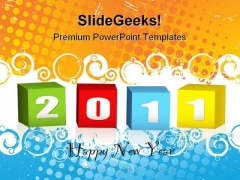 New Year Wood Blocks Symbol PowerPoint Templates And PowerPoint Backgrounds 0511