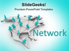 North America Networking Communication PowerPoint Templates And PowerPoint Backgrounds 0811