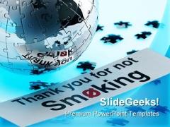 Not Smoking Globe PowerPoint Template 1110