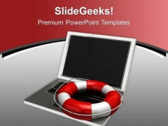 Notebook Lifesaver Technology PowerPoint Templates Ppt Backgrounds For Slides 0213