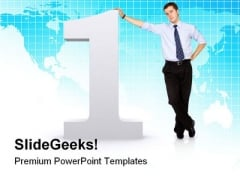 Number One Businessman Success PowerPoint Themes And PowerPoint Slides 0811
