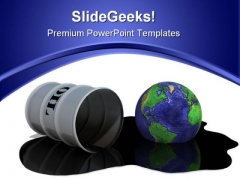 Oil Drum Earth Oilspill Global PowerPoint Template 0810