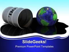 Oil Drum Earth PowerPoint Backgrounds And Templates 1210