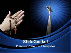 Old Hands Praying Church PowerPoint Templates And PowerPoint Themes 0812