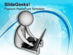 One Laptop Can Give More Results PowerPoint Templates Ppt Backgrounds For Slides 0713