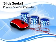 Online Casino Chips For Gambling PowerPoint Templates Ppt Backgrounds For Slides 0313