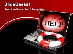 Online Help Internet PowerPoint Template 0910