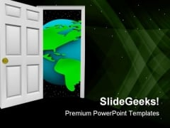 Open Door Globe PowerPoint Templates And PowerPoint Backgrounds 0611