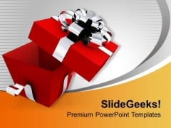 Open Elegant Gift Box PowerPoint Templates Ppt Backgrounds For Slides 0113