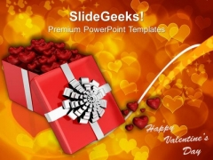 Open Gift Box With Hearts Valentines PowerPoint Templates Ppt Backgrounds For Slides 0213