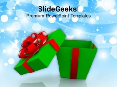 Open Gift Box With Red Bow Christmas PowerPoint Templates Ppt Backgrounds For Slides 1112
