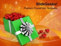 Open Gift With Valentine Hearts PowerPoint Templates Ppt Backgrounds For Slides 0213