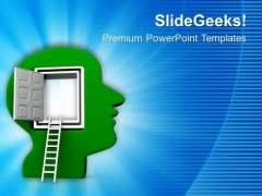 Open Human Brain With Ladder PowerPoint Templates Ppt Backgrounds For Slides 0713