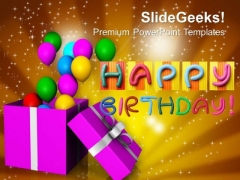 Opened Gift Box With Balloons Birthday PowerPoint Templates Ppt Backgrounds For Slides 0113