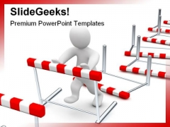 Overcome Hurdles Business PowerPoint Template 0810