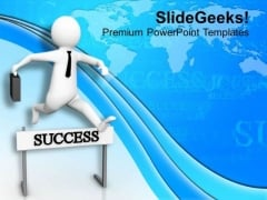 Overcome Obstacles In Success Path PowerPoint Templates Ppt Backgrounds For Slides 0813