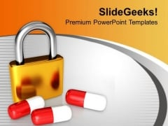 Padlock And Medicine Healthcare PowerPoint Templates Ppt Backgrounds For Slides 0313