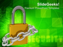 Padlock With Metallic Chain Security PowerPoint Templates Ppt Backgrounds For Slides 0213