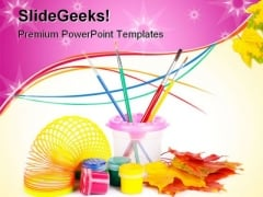 Paint Fun Art PowerPoint Themes And PowerPoint Slides 0511