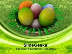 Painted Easter Eggs In Basket Festival PowerPoint Templates Ppt Backgrounds For Slides 0313