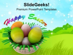 Painted Eggs In Basket Happy Easter PowerPoint Templates Ppt Backgrounds For Slides 0313