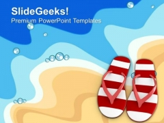 Pair Of Flip Flop On Beach PowerPoint Templates Ppt Backgrounds For Slides 0413
