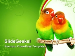 Pair Of Lovebirds Animals PowerPoint Templates And PowerPoint Backgrounds 0611