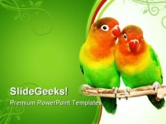 Pair Of Lovebirds Animals PowerPoint Themes And PowerPoint Slides 0611