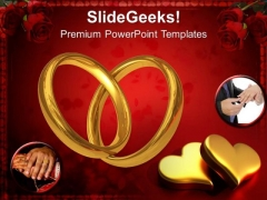 Pair Of Rings Celebration Wedding PowerPoint Templates Ppt Backgrounds For Slides 1212