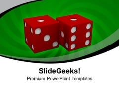Pair Of Rolling Dice Showing Risk Business PowerPoint Templates Ppt Backgrounds For Slides 0413