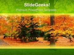 Park With Green And Yellow Tree PowerPoint Templates Ppt Backgrounds For Slides 0613