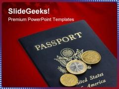 Passport Americana PowerPoint Template 1010