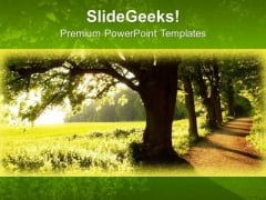Path To Forest Nature PowerPoint Templates Ppt Backgrounds For Slides 0313