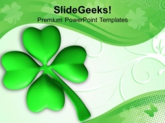 Patrick Day Lucky Clover Leaf Celebration PowerPoint Templates Ppt Backgrounds For Slides 0313