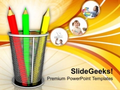 Pencil And Basket Holder Education PowerPoint Templates Ppt Backgrounds For Slides 0313
