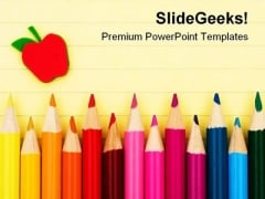 Pencils Education PowerPoint Template 0810