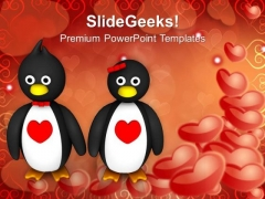 Penguin Couple Holding Hands Hearts Day PowerPoint Templates Ppt Backgrounds For Slides 0213